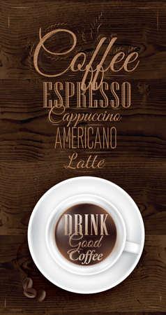 Poster koffie in donkerbruin hout kleur afgebeeld met een kopje belettering Drink goede koffie en menu Stockfoto - 25699957