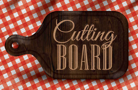 kitchen poster: Poster with bread cutting brown wood color board lettering Cutting board on a red checkered tablecloth   Illustration