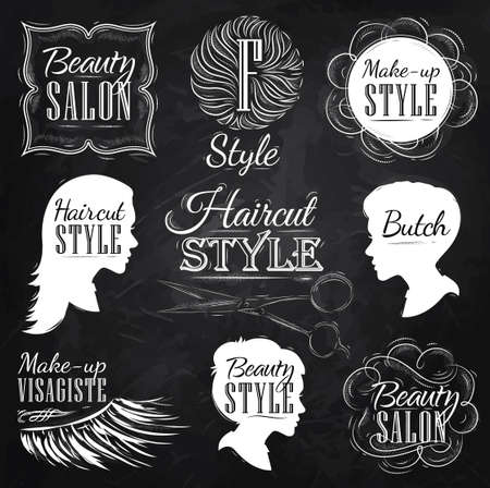 peluqueria: Sal�n de belleza establecidos, vista lateral en un estilo retro y estilizado para el dibujo con tiza en la pizarra Vectores