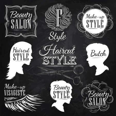 Set Beauty-Salon, Seitenansicht im Retro-Stil und stilisierte für die Zeichnung mit Kreide an der Tafel Standard-Bild - 25699956