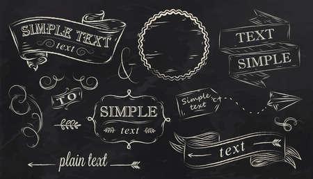 �board: Tiza elementos decorativos de un estilizado dibujo con tiza en el tablero, caja, etiqueta, patr�n, decoraci�n, cinta, flecha, dise�o de recepci�n, sobre un fondo negro