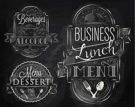 menu de postres: Elementos en el tema del almuerzo en un restaurante de negocios estilizado dibujo de tiza en una pizarra en un estilo retro Vectores