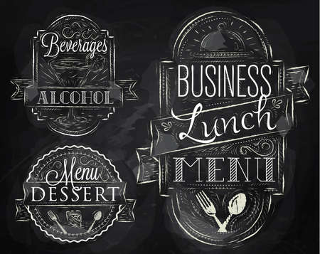 dessert menu: Elements on the theme of the restaurant business lunch stylized a chalk drawing on a blackboard in a retro style