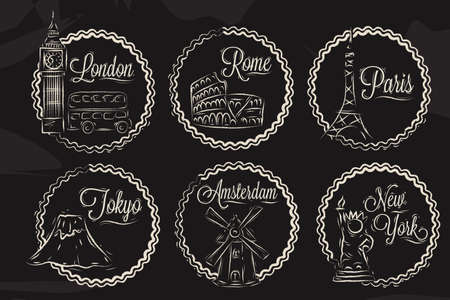 Icons with world cities, London, New York, Rome, Amsterdam, Tokyo, Paris, stylized drawing with chalk on a blackboard, a frame in round frame on a black background  Vector