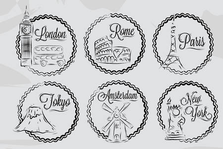 Icons with world cities, London, New York, Rome, Amsterdam, Tokyo, Paris, stylized drawing with chalk on a blackboard, a frame in round frame on a white background  Vector