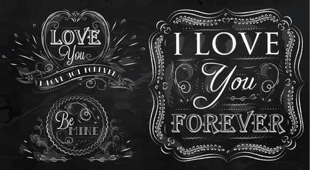 wishes romantic: Chalk design elements on themes  of love  stylized drawing with chalk on the board on a black background