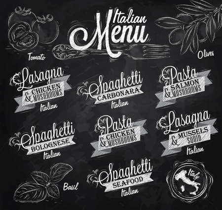 spaghetti: Menu Italian the names of dishes of spaghetti, lasagna, pasta carbonara, bolognese and other ingredients tomato, basil, olive to design a menu stylized drawing with chalk on the blackboard
