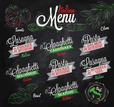 chiken: Menu Italian the names of dishes of spaghetti, lasagna, pasta carbonara, bolognese and other ingredients tomato, basil, olive to design a menu stylized drawing with chalk of red, green colours