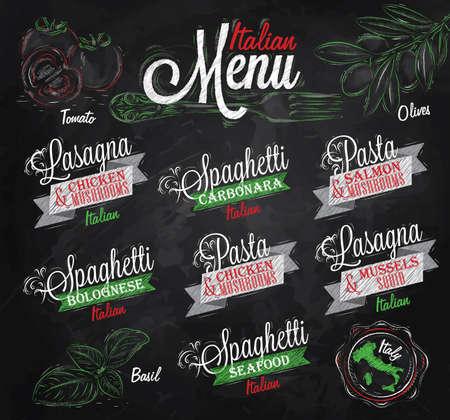 cozza: Menu italiano i nomi dei piatti di spaghetti, lasagne, pasta alla carbonara, bolognese e altri ingredienti pomodoro, basilico, olive per progettare un menu stilizzato disegno con il gesso di rosso, colori verdi