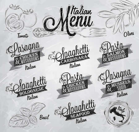 Menu Italian the names of dishes of spaghetti, lasagna, pasta carbonara, bolognese and other ingredients tomato, basil, olive to design a menu stylized drawing with coal on a white blackboard