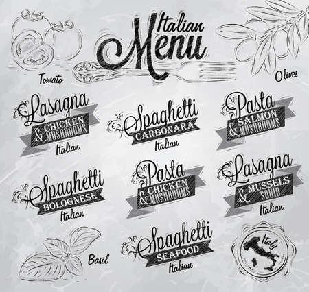 白い黒板メニュー イタリア スパゲッティ、ラザニア、パスタ カルボナーラ、ボロネーゼと他成分トマト、バジル、オリーブを使用した描画様式化されたメニューを設計するの料理の名前石炭します。 写真素材 - 25935562