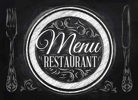 cuchillo: Letras restaurante de menú en un plato con un tenedor y una cuchara en el lado en el dibujo estilo retro con tiza en la pizarra Vectores