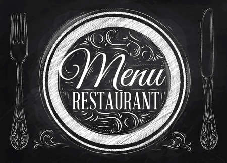 Menu restaurant lettering on a plate with a fork and a spoon on the side in retro style drawing with chalk on blackboard   Illustration