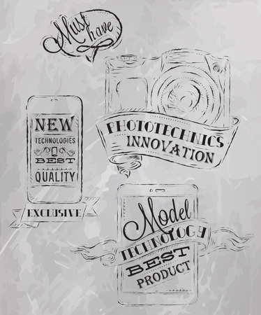 Icons on modern technology mobile tablet device camera in vintage style stylized under the chalk drawings gray  Vector