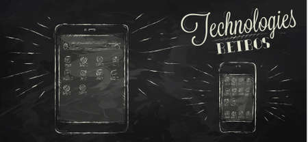 Icons on modern technology mobile tablet device in vintage style stylized under the chalk drawings Vector