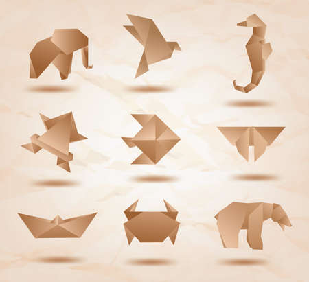 Set of origami animals symbols from recycled paper  kraft paper   elephant, bird, sea horse, fish, butterfly, bear, crab, fish