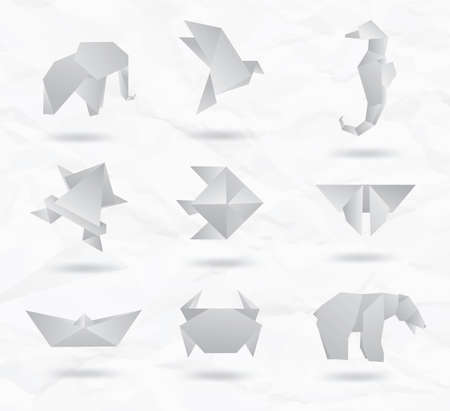 Set of white origami animals symbols from paper   elephant, bird, sea horse, fish, butterfly, bear, crab, fish  Vector