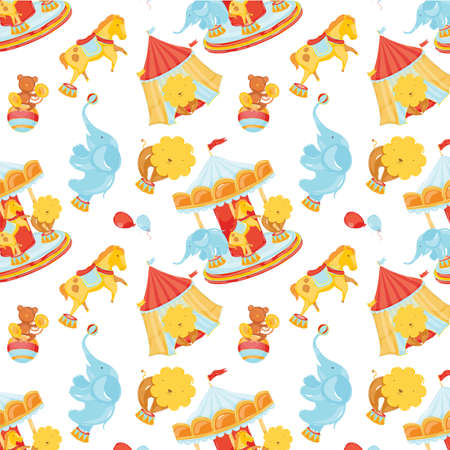 children s: Circus pattern with animals and carousel and concession stands with balloons  Children s positive joyful