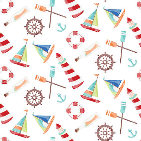 Pattern on the marine theme with a lighthouse, ships, sailboats, anchor, oars, wheel and bottle with a message  Vector