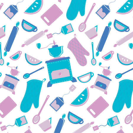 rolling bag: Pattern on the kitchen theme in blue violet range with grinders prehvatkami Kitchen