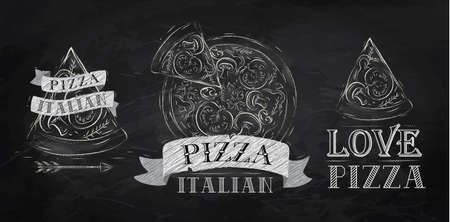 voedingsmiddelen: Pizza symbool, iconen en een stuk pizza met de inscriptie Italiaanse gestileerde tekenen met krijt op het bord Stock Illustratie