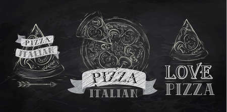 illustration of food: S�mbolo Pizza, iconos y un trozo de pizza con la inscripci�n italiano estilizado dibujo con tiza en la pizarra Vectores