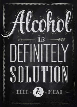 Poster joke Alcohol is definitely solution beer and meat in retro style stylized drawing with chalk on the blackboard  Vector