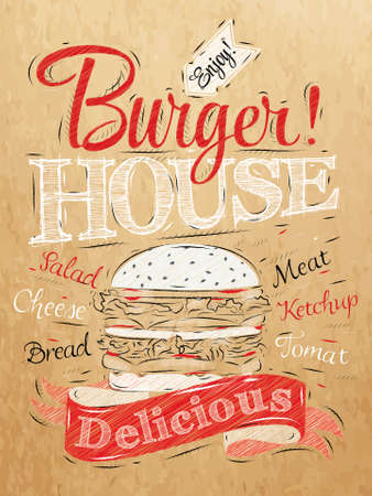 Poster lettering Burger House painted with a hamburger and inscriptions stylized drawing on kraft paper of red, white, black  Vector