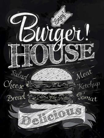 햄버거와 비문 그린 포스터 문자 버거 하우스는 칠판에 분필로 그림 양식에 일치시키는