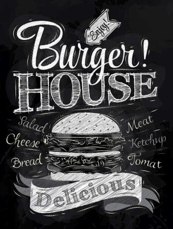 Poster lettering Burger House painted with a hamburger and inscriptions stylized drawing with chalk on blackboard   Vector