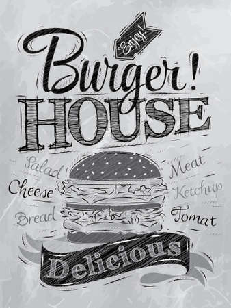 Poster lettering Burger House painted with a hamburger and inscriptions stylized drawing with coal on the board   Vector
