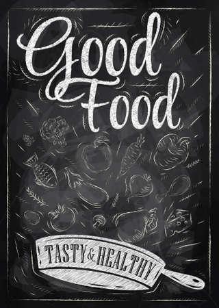 Poster buena comida con la sartén en la que los productos vuelan estilizado dibujo con tiza en la pizarra