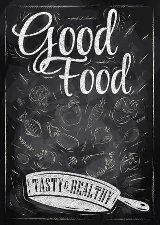 good nature: Poster good food with frying pan in which the products fly stylized drawing with chalk on blackboard