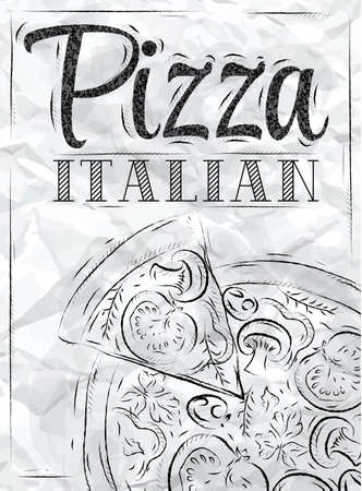 Poster with pizza and a slice of pizza with the inscription Italian pizza stylized drawing with coal on the blackboard   Vector
