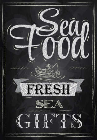 Poster Sea food fresh sea gifts in retro style stylized drawing with chalk on the blackboard   Vector