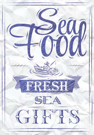 Poster Sea food fresh sea gifts in retro style stylized drawing of a blue pen on a crumpled paper   Vector