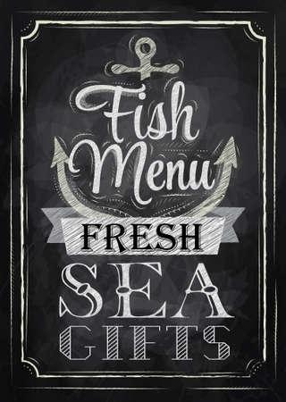 칠판에 분필로 레트로 스타일의 양식에 일치시키는 드로잉 포스터 생선 요리 신선한 바다의 선물