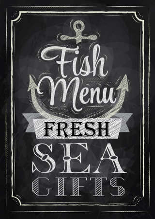 anchor drawing: Poster Fish menu fresh sea gifts in retro style stylized drawing with chalk on the blackboard  Illustration