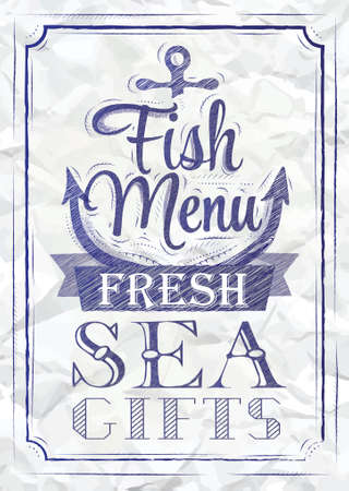 blue pen: Poster Fish menu fresh sea gifts in retro style stylized drawing of a blue pen on a crumpled paper blackboard