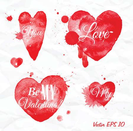 Valentinstag-Herz-und Aquarell Schriftzug LOVE Xoxo In Rot über ...