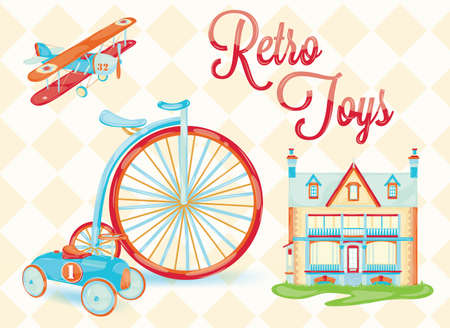 retro toy  doll house, bicycle, car, plane, chair, stylized vintage toys, baby  with the background of rhombuses  Vector