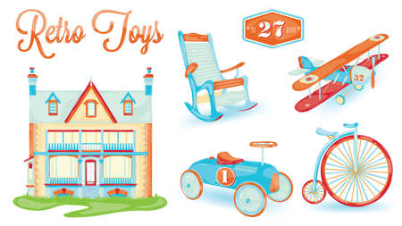 doll house: retro toy  doll house, bicycle, car, plane, chair, stylized vintage toys, baby   Illustration
