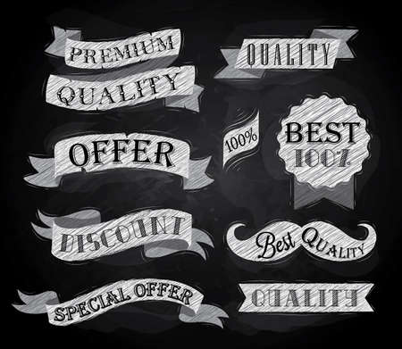 on special offer: Set of retro ribbons and labels with text quality and best offer, premium, stylized drawing with chalk on the blackboard