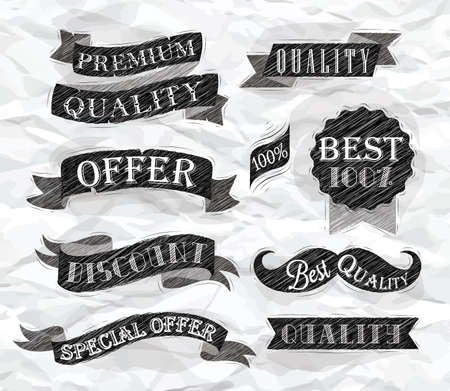 Set of retro ribbons and labels with text quality and best offer, premium, stylized drawing of a pen on a crumpled paper  Vector