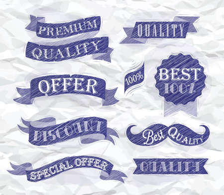 Set of retro ribbons and labels with text quality and best offer, premium, stylized drawing of a blue pen on a crumpled paper  Vector