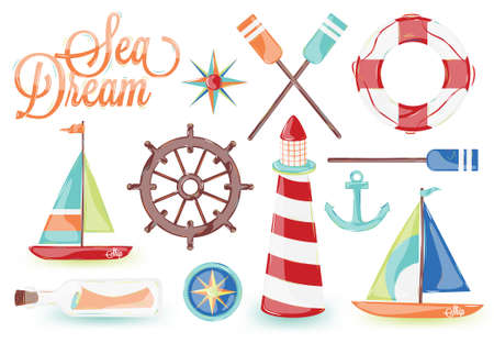 brig: icons on the marine theme with a lighthouse, ships, sailboats, anchor, oars, wheel and bottle with a message