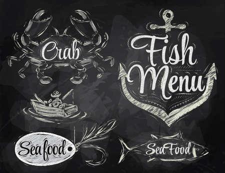 cangrejo: Set colección de mariscos y pescado menú con los pescadores de cangrejo y el pescado y el ancla con cebo gancho y estilizado para el dibujo con tiza en la pizarra Vectores