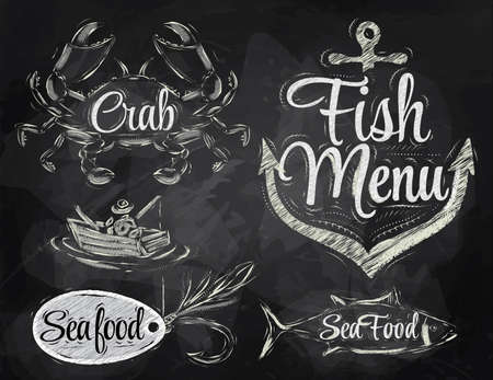Set collection of seafood and fish menu with crab fisherman and fish and anchor baited hook and stylized for the drawing in chalk on the blackboard