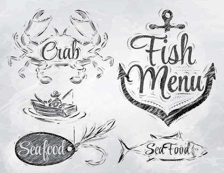 Set collectie van zeevruchten en vis menu met krab visser en vis en anker aas haak en gestileerd voor de tekening in houtskool aan boord Stock Illustratie