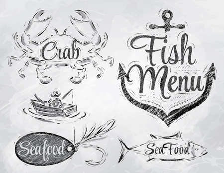 fisherman boat: Set collection of seafood and fish menu with crab fisherman and fish and anchor baited hook and stylized for the drawing in charcoal on board